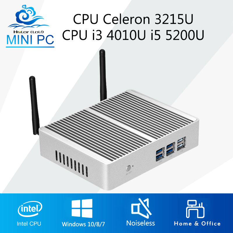 Mini Computer Windows 10 Mini PC Intel Core i3 4010U i5 5200U Computer PC Barebone Motherboard Fanless HDMI VGA WIFI windows 10 industrial business implant style mini pc computer ssd core i3 i5 cpu with wifi hdmi vga 6 port com