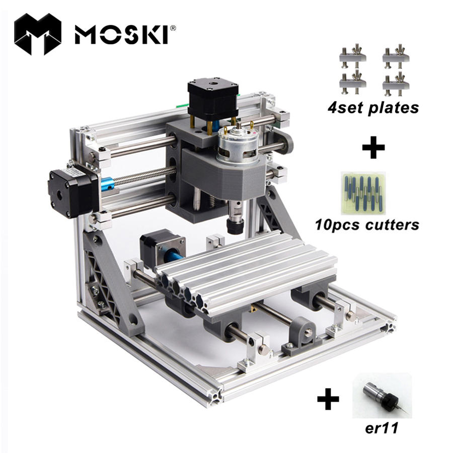 MOSKI ,CNC 1610 with ER11,diy cnc engraving machine,mini Pcb Milling Machine,Wood Carving machine,cnc router,cnc1610,best toys 1610 mini cnc machine working area 16x10x3cm 3 axis pcb milling machine wood router cnc router for engraving machine