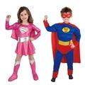 New Brand Children Blue Pink Superman Girl Dress Halloween Cosplay Boys Musle Muscular Party Super Man Super Hero Costume