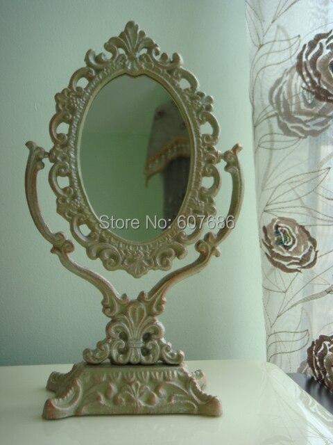 victoriano antiguo vestido de vanidad espejo espejo de tocador espejo con marco de hierro soporte de