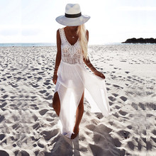 New Sexy White Crochet Bikini Covers-Up Beach Coat Swimsuit Cover-Up Lace Beachwear Knitted Cover-up Long Dress