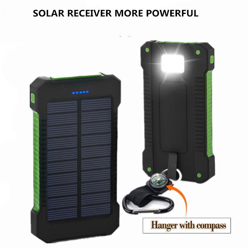2019 banco de energia solar 20000 mah duplo usb carregador de bateria externa carregador portátil bateria externa para o telefone inteligente