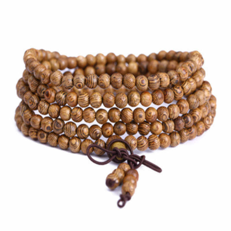 8 cm 108 Beads Sandalwood Rosary Bracelets Men Jewelry Prayer pulsera hombre High Quality Natural Wood Beaded Bracelet For Women