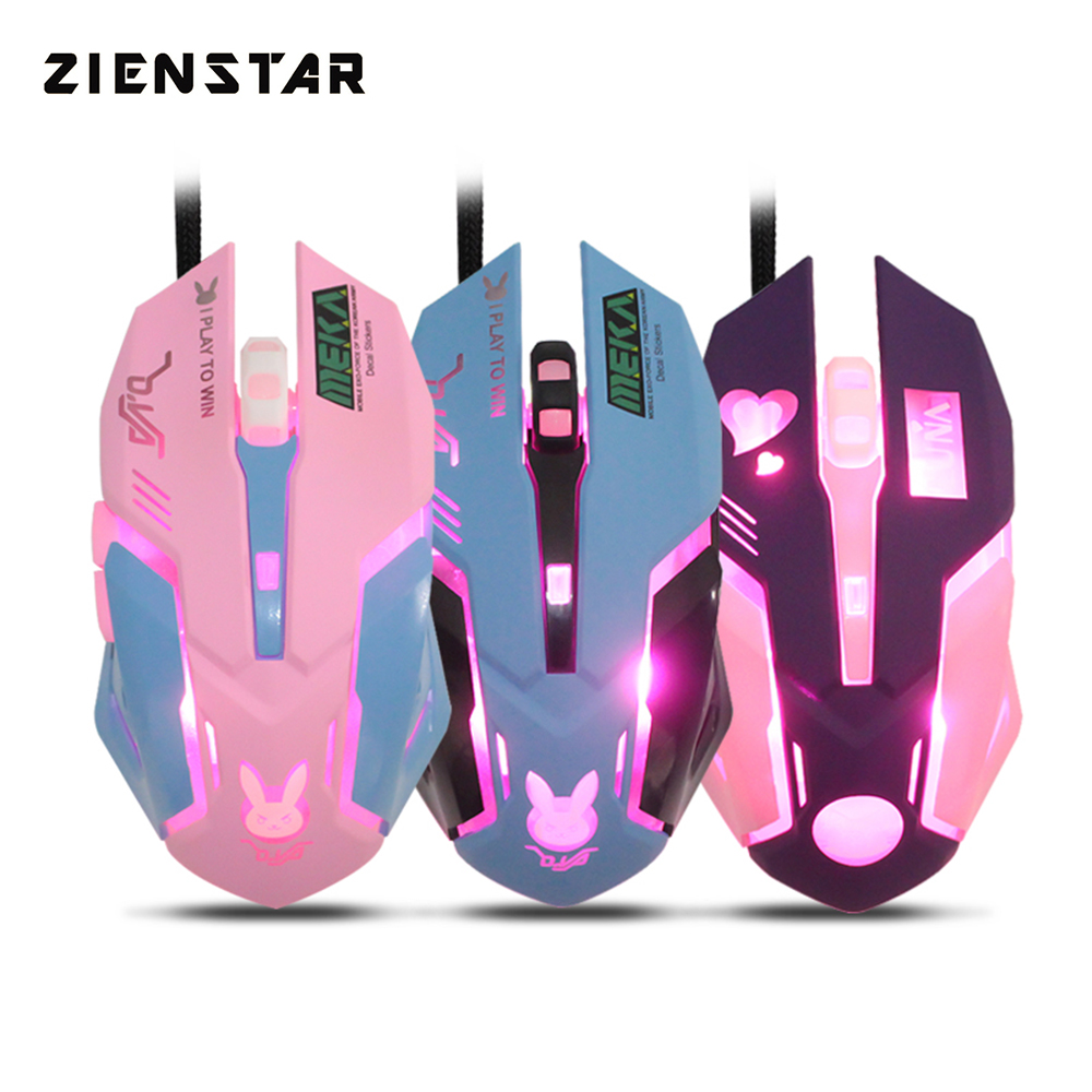 Zienstar Wired USB Mouse Mice With 7Color Backlit ,3200DPI,Yellow Pink Purple Blue Colors For Macbook,Computer PC,Laptop