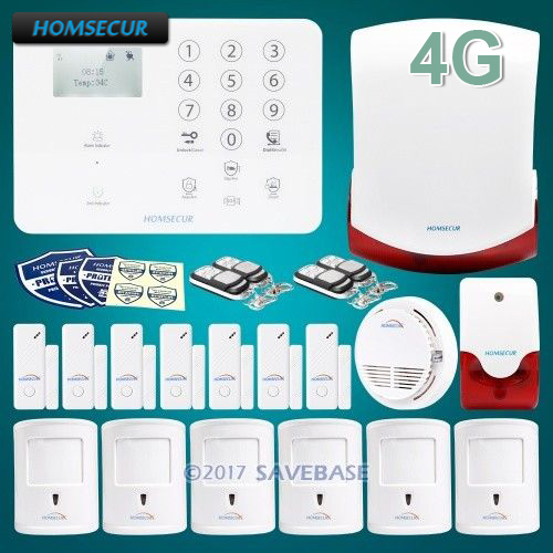 цена на HOMSECUR Wireless 4G SMS Autodial LCD Home Security Alarm System+IOS/Android APP