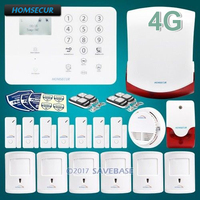 HOMSECUR Wireless 4G SMS Autodial LCD Home Security Alarm System+IOS/Android APP