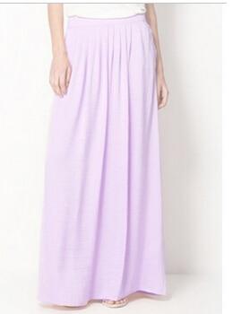 Женская длинная юбка в стиле знаменитостей пастельных конфетных цветов, плиссированная юбка размера плюс для женщин, юбки синего, зеленого, розового, красного цветов - Цвет: Фиолетовый