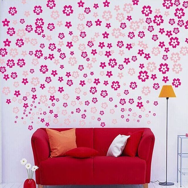 108 Multicolor Floral Romantic Wall Stickers Living Room TV/Sofa ...