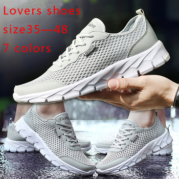Hot Sale 2019 Men Shoes Summer Sneakers Breathable Casual Shoes Couple Lover Fashion Lace Up Mens Mesh Flats Shoe Big Plus Size