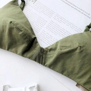 Image 4 - Wriufred 코튼 편안한 란제리 조끼 삼각형 소프트 컵 브래지어 여성 플러스 사이즈 브래지어 섹시한 속옷 깊은 V 브래지어를 밀어