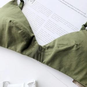 Image 4 - Wriufred綿快適なランジェリーベスト三角形ソフトカップブラジャー女性プラスサイズのブラジャーセクシーな下着ディープvプッシュアップbralette