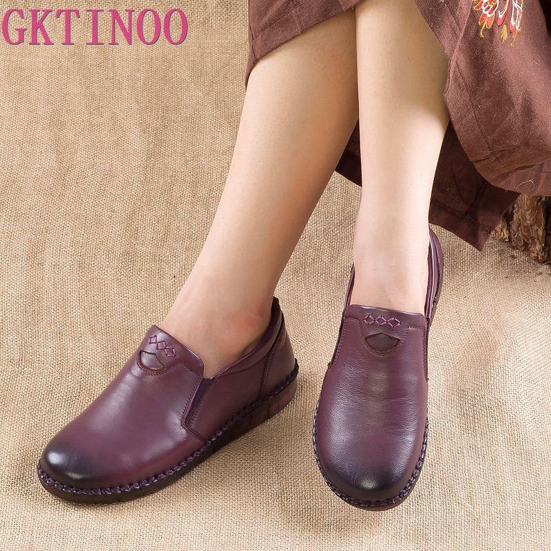 GKTINOO Fashion Retro Hand Sewing Shoes Women Flats Genuine Leather Soft Bottom Women Shoes Soft Comfortable