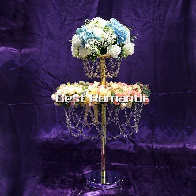 2 Layer Sky Wheel Acrylic Crystal Wedding Centerpiece Table Tall