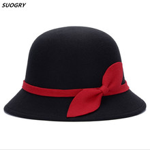 SUOGRY Vintage Fall Winter Fedora hat for Women Dome Cloche