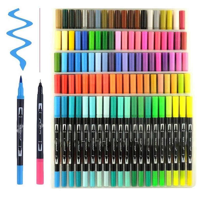 100 double pinceau stylo feutre pointe fournitures scolaires calligraphie stylo dessin Manga art marqueur artistique double pointe aquarelle pinceau stylo