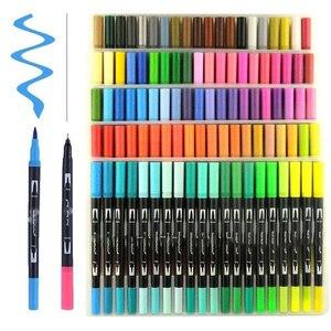 Image 3 - 100 כפולה מברשת עט הרגיש טיפ ספר קליגרפיה עט ציור מנגה אמנות סמן אמנותי כפולה טיפ בצבעי מים מברשת עט