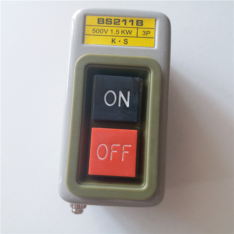 2pcs Press button switch, BS211B start stop switch, start button switch, machine buckle switch 1.5KW