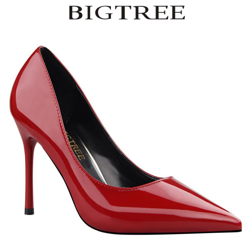 Bigtree Shoes Woman Brand Basic Women Pumps Glossi Shoes Patent Leather Pointed Toe Thin Heel High Heels Glitter Stiletto Heels luxury brand crystal patent leather sandals women high heels thick heel women shoes with heels wedding shoes ladies silver pumps