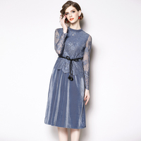Autumn Winter Plus Size Blue Vintage Lace Europe Style Dresses 2019 Korean Women A line Dress Party Gold Velvet Runway Vestidos