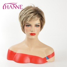 цена на HANNE Mix Brown And Blonde 613 High Temperature Synthetic Hair Short Wig Heat Resistant Natural Wave None Lace Wig For Ladies