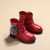 3 14 Years Old Girl Fashion Winter Ankle Boots Kids Winter Plush Floral Leather Boots Children