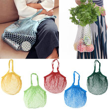 Dropshipping Herbruikbare Fruit String Kruidenier Shopper Katoenen Tote Mesh Geweven Netto Schoudertas(China)