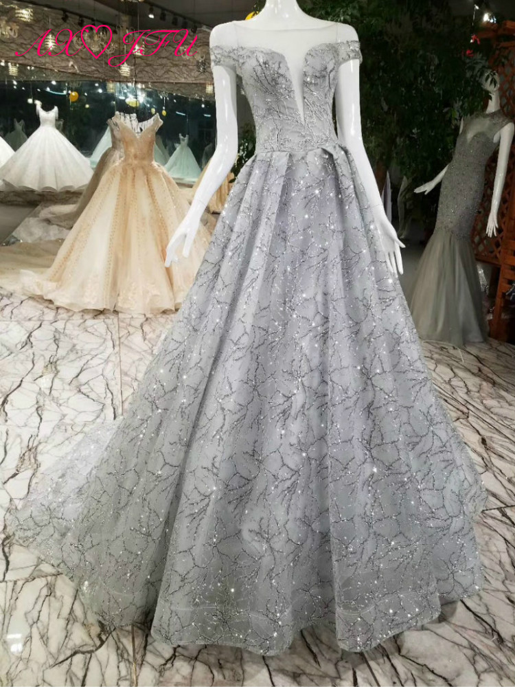 AXJFU Princess grey lace   evening     dress   Vintage shinning grey   evening     dress   lace grey silver   evening     dress   100% real photo