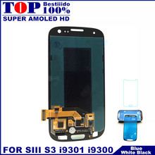 100% Super AMOLED LCD for Samsung Galaxy SIII S3 i9300 i9300i i9301 i9301i i9305 LCD Display Touch Screen Digitizer Assembly