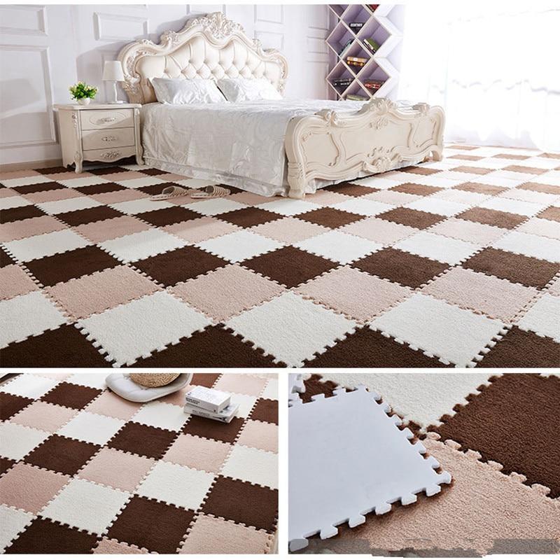 Купить с кэшбэком Children Carpet EVA Foam Shu Velveteen Mat Puzzle Baby Play Mat Interlock Exercise Floor Mat for Baby Gym Speelkleed