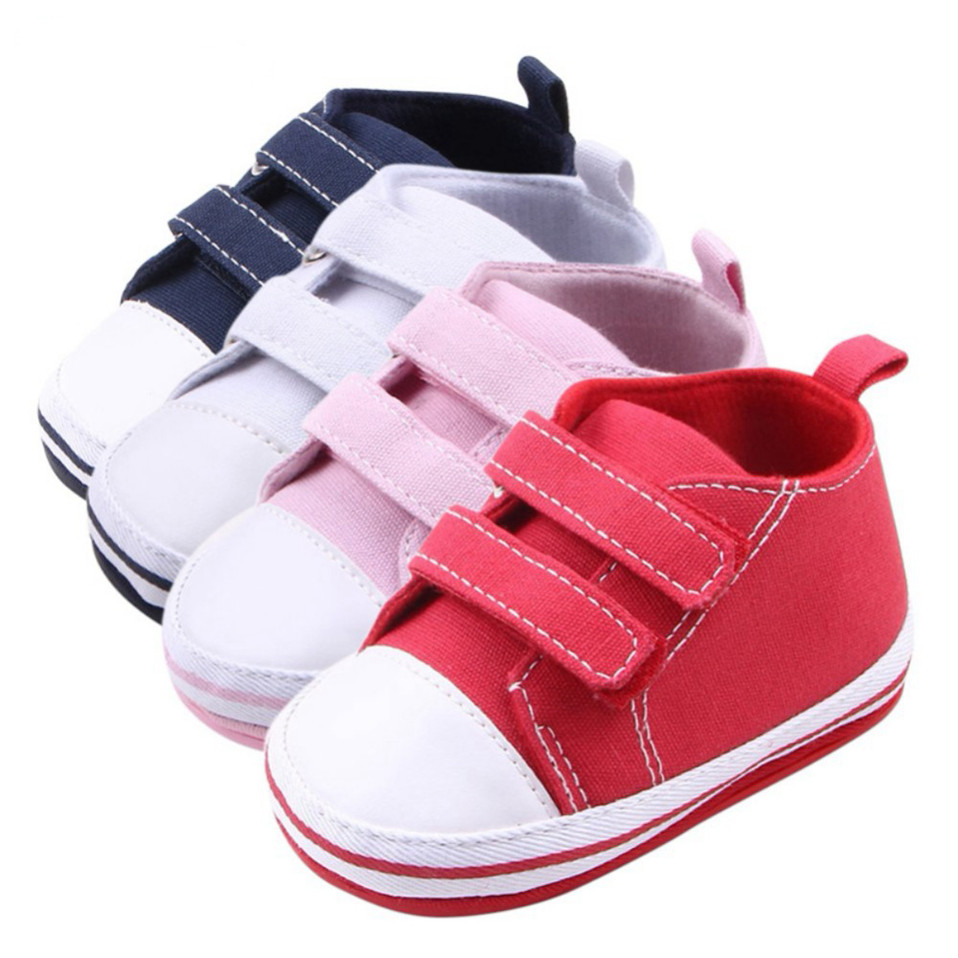 Canvas Baby Shoes For Newborn Baby Boys Girls First Walkers Infant Toddler Soft Bottom Anti-slip Prewalker Sneakers For 0-18M