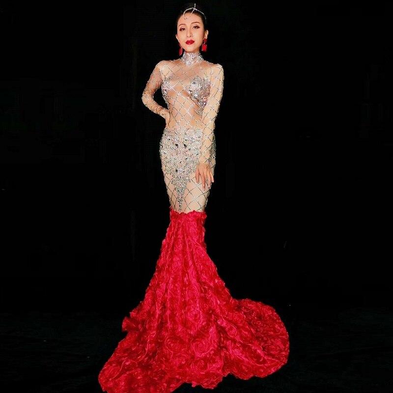 Для женщин с длинным рукавом блеск бриллиантов платье Sexy Lady Стретч облегающее в пол вырос хвост вечернее, для вечеринок, праздничное одежда Костюмы