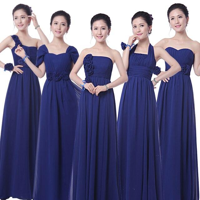 Robe demoiselle d\'honneur 2018 new chiffon A Line 5 style royal blue ...