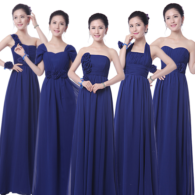 Robe demoiselle d honneur 2019 new chiffon A Line 5 style royal blue  bridesmaid dresses long cheap bridesmaid gowns under   50 4dc66ab8b388