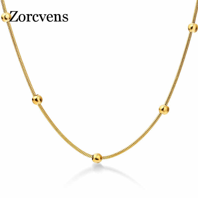 ZORCVENS 316L Stainless Steel Gold-color Round Ball Pendant Necklace Link Chain Necklace Fashion Jewelry For Women or Men