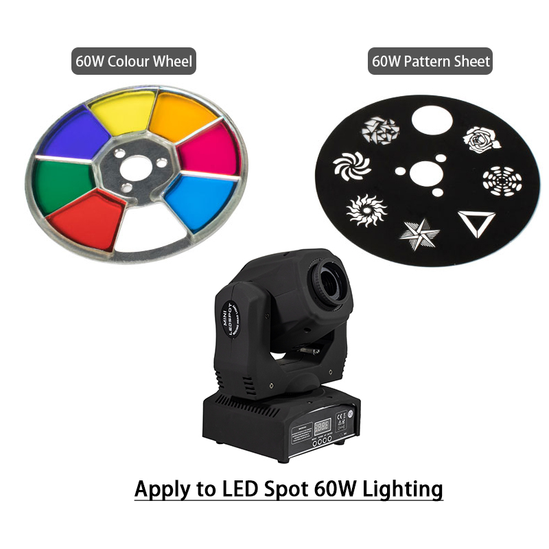 LED Spot Moving Head Light Accessories 60W Color & Gobo Wheel Good For DMX 512 Stage Lighting DJ Birthday Party