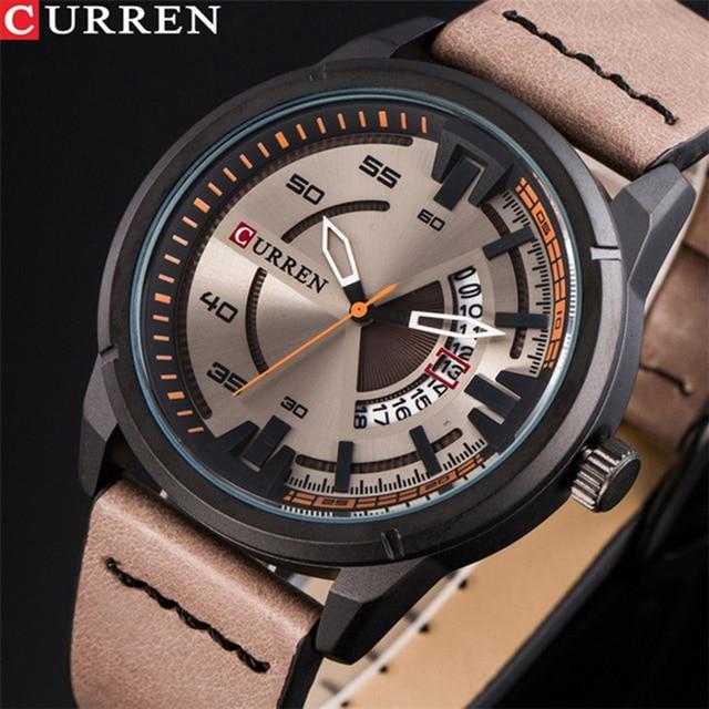 CURREN Mens Watches Top Brand Luxury Men Fashion Leather Strap Quartz Watch  Man Casual Waterproof Wristwatch Relogio Masculino 3787615edb21a