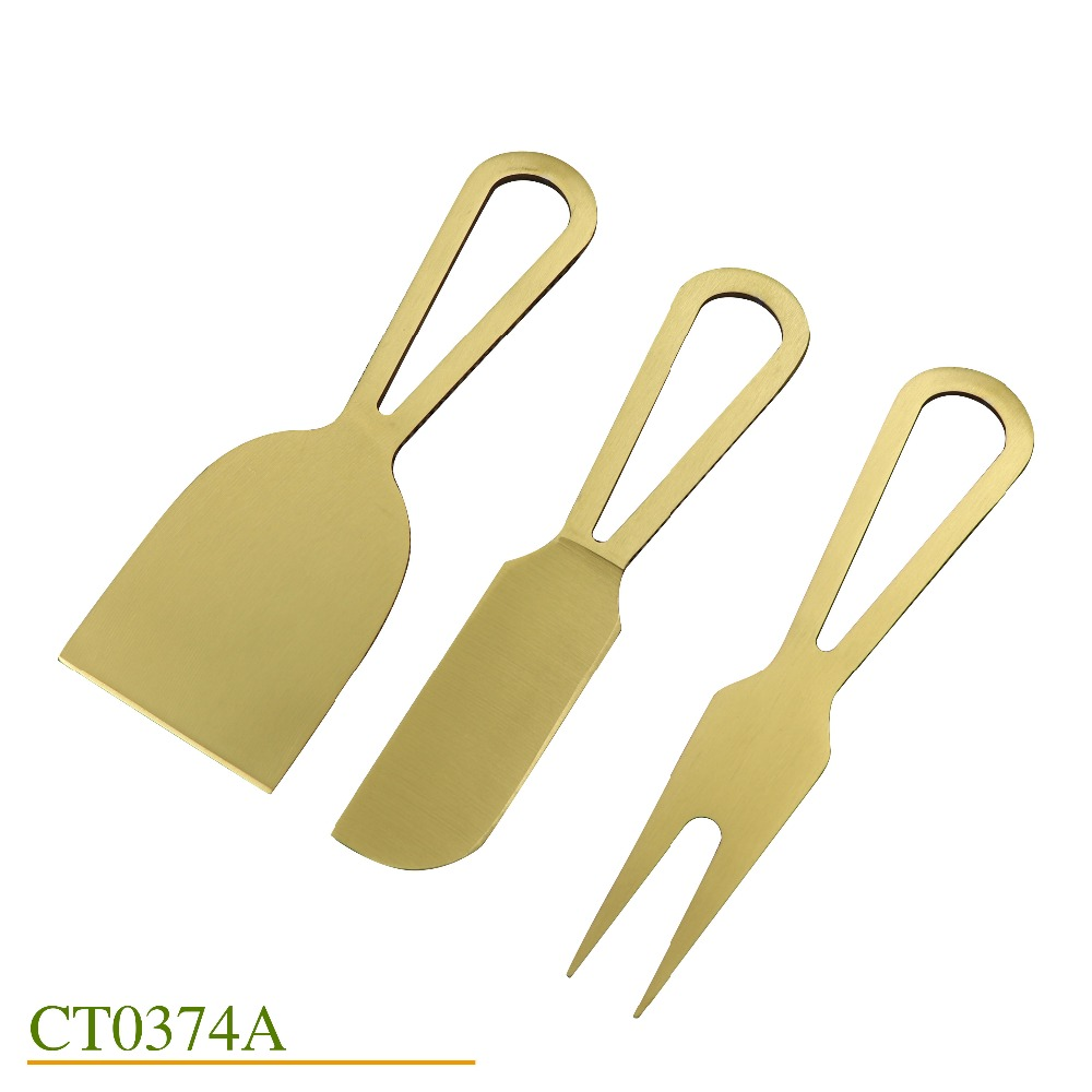 Premium gold colour cheese knife set  stainless steel slicer cutter of 3 golden plated