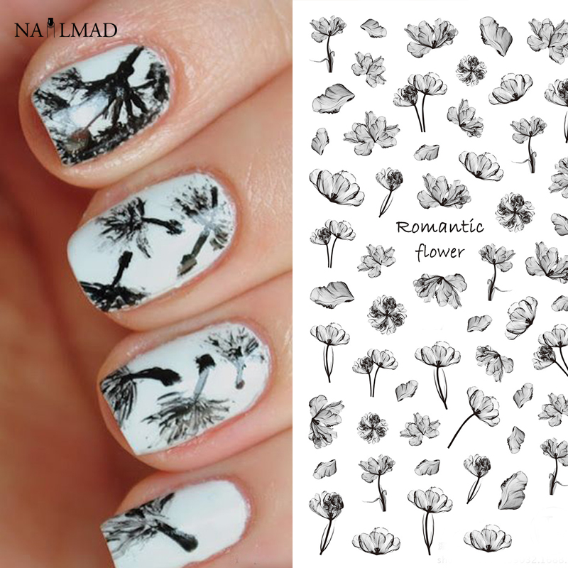 1 sheet NailMAD Black Flower Nail Art Stickers Lotus Nail Sticker 3D Nail Art Stickers Adhesive Sticker direct continental carved 3d nail stickers nail sticker nail art stickers 3d nail stickers xf711