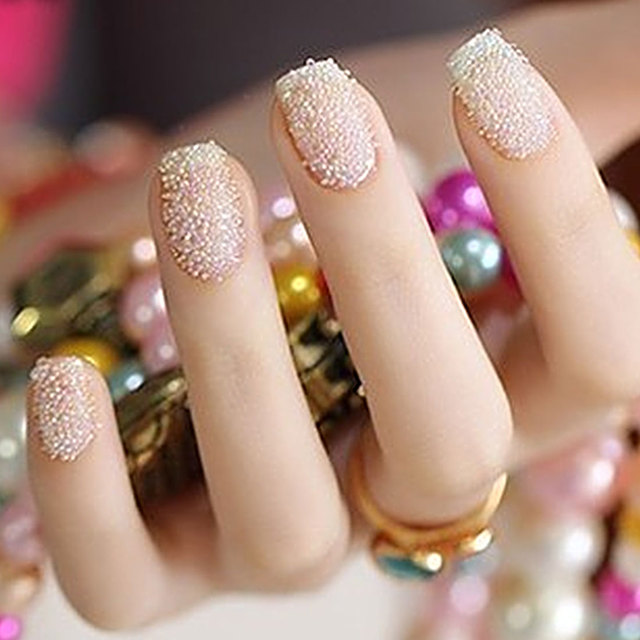 50g/pack 1mm Nail Art Gold Silver 3D Caviar Beads Gel Polish Tips ...