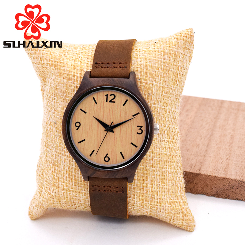 SIHAIXIN Minimalist Bamboo Wood Woman Watch Top Brand Luxury Leather Quartz Wooden Watch Female Cheap Lady With Free Shipping 1