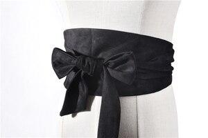 Image 2 - Korean Fashion Suede Plush Fabric Women Waist Belts 12.5CM WIDE Self Tie Bowler Skirt Shirt Dress Belt Female Solid Corset Belts