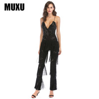 MUXU Summer v neck backless black sequin jumpsuit europe and the united states jumpsuits rompers body mujer woman bodysuit 2018