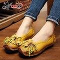 2017new Китайских Брендов женщин обувь из натуральной кожи женщина Ручной сшиты кожаные квартиры коровьей гибкие весной обувь женщины бездельник AG40