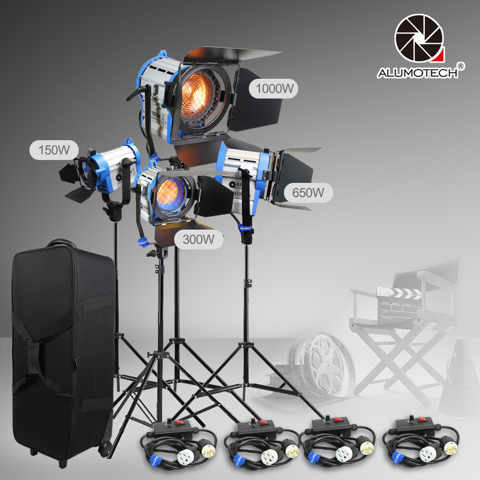 ALUMOTECH As ARRI 150W+300W+650W+1000W Tungsten Spot light+case+stand+4 dimmer Kit