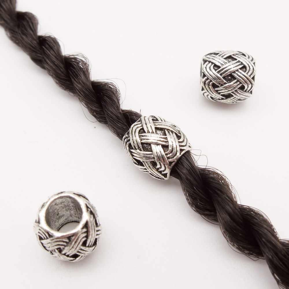 20 шт/лот тибетские серебряные волосы викинга оплетка dread борода дредлок бусины манжеты трубка для плетение волос
