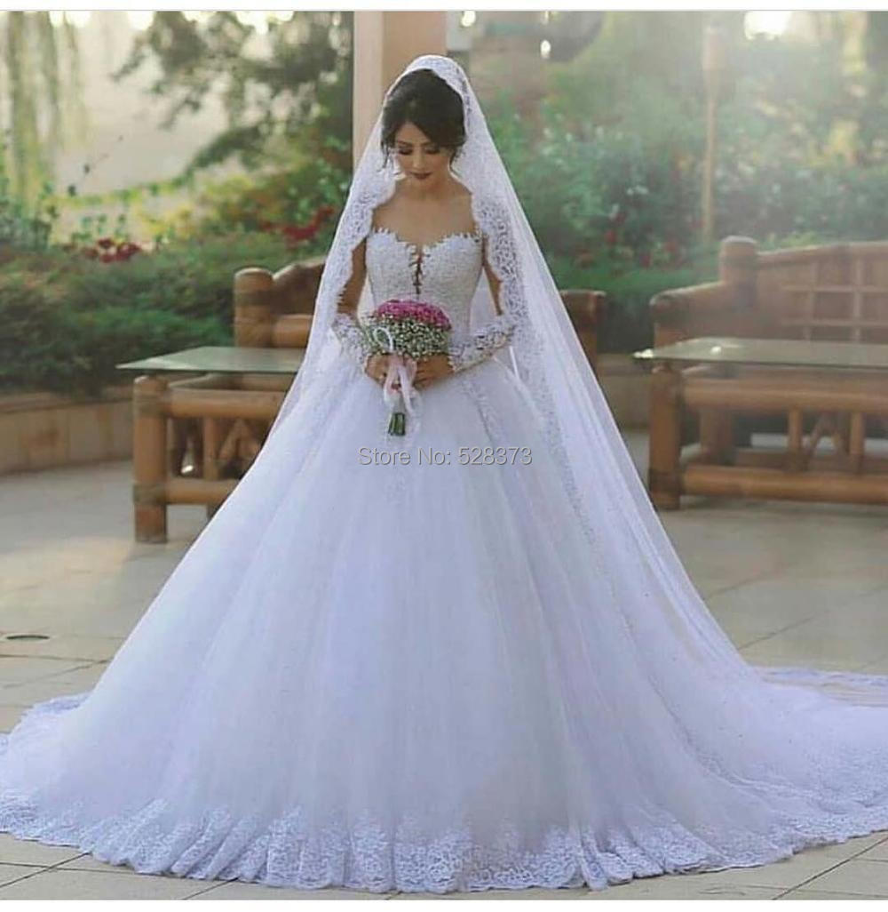 YNQNFS IWD8 Tulle Court Train Princess Sheer Neck Long Sleeves Bridal Dress Gown Ball Gown Wedding Party Dress 2019