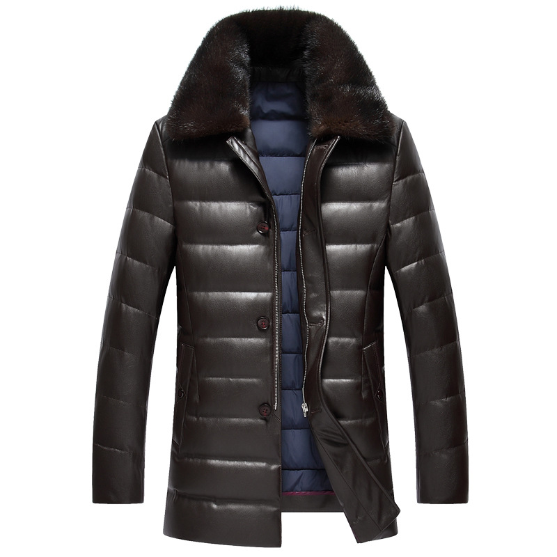 Winter Middle-aged men lapel leather thick water mink collar PU leather down jacket male long paragraph solid color coat MZ1180
