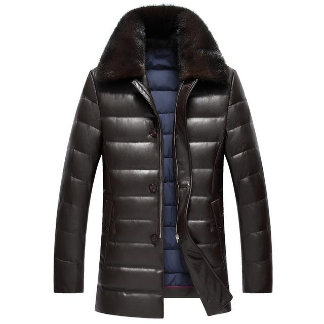 Hombres de Mediana Edad invierno solapa de cuero grueso agua visón cuello de piel de cuero de LA PU abajo chaqueta masculina color sólido a largo párrafo abrigo MZ1180