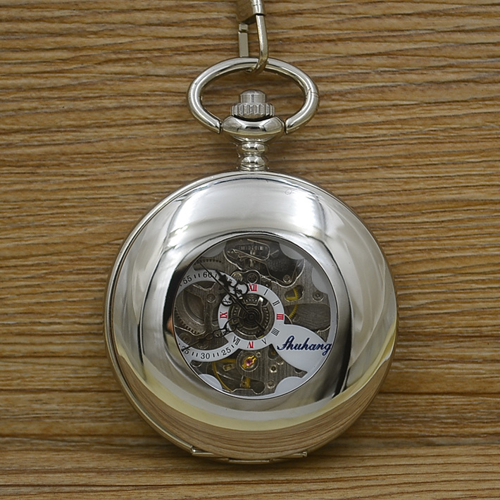 wholesale fashion automatic self-wind Mechanical Pocket Watch man vintage father Stylish smooth cover fob watches Roman Number silver mechanical pocket watch man smooth case open two vintage father stylish wind roman number hour good quality short chain