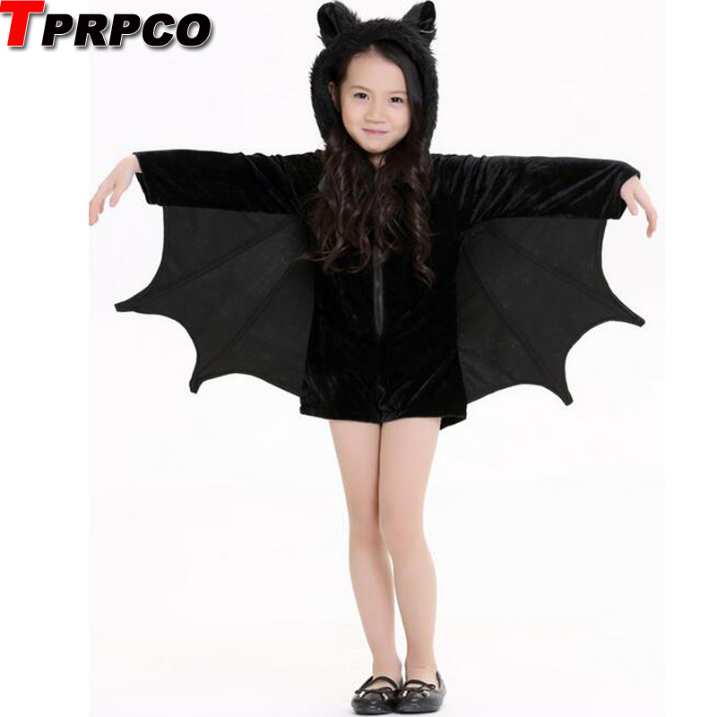 Child Animal Cosplay Cute Bat Costume Kids Halloween Costumes Girls Black Zipper Jumpsuit Connect Wings Batman Clothes NL168